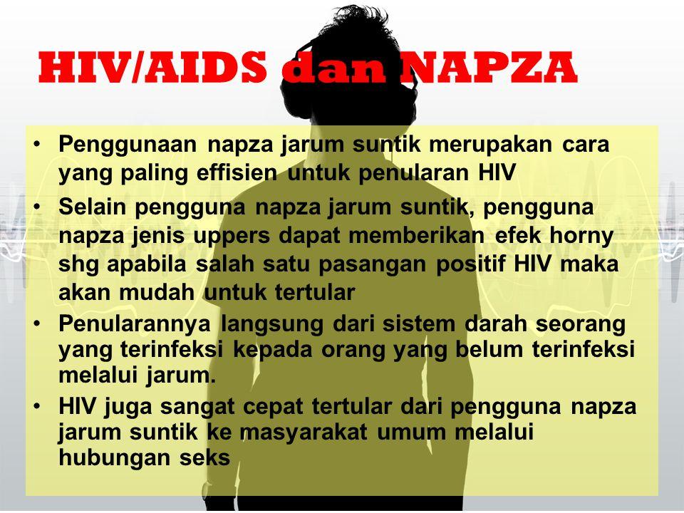 HIV/AIDS dan NAPZA Penggunaan napza jarum suntik merupakan cara yang paling effisien untuk penularan HIV.