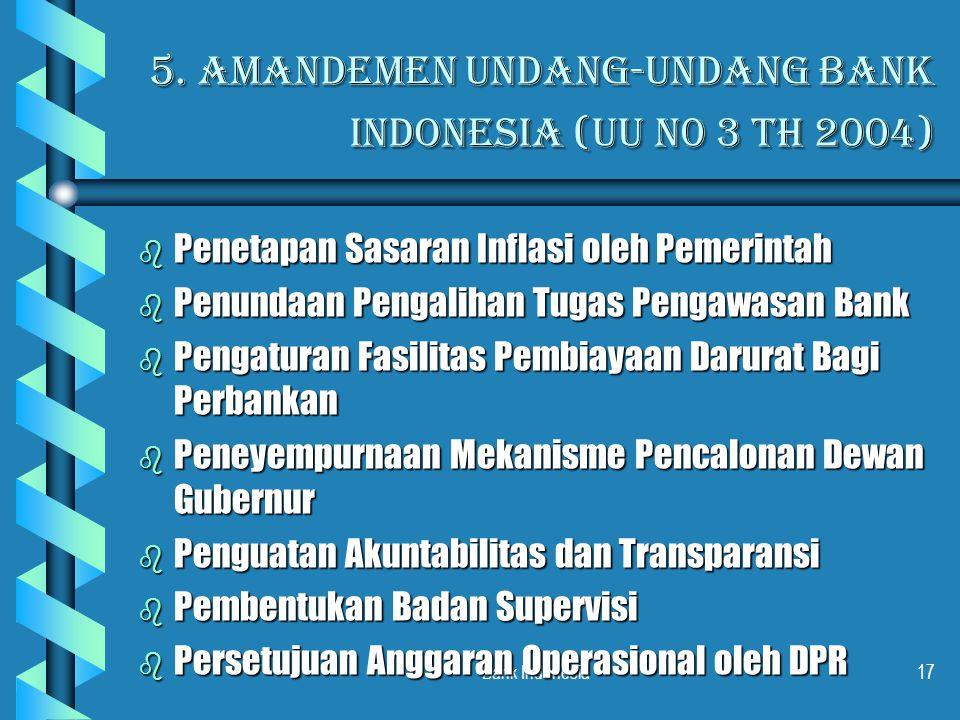 5. Amandemen Undang-Undang Bank indonesia (UU N0 3 th 2004)