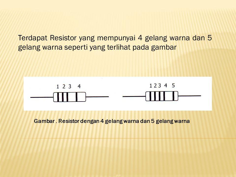 Terdapat Resistor yang mempunyai 4 gelang warna dan 5 gelang warna seperti yang terlihat pada gambar