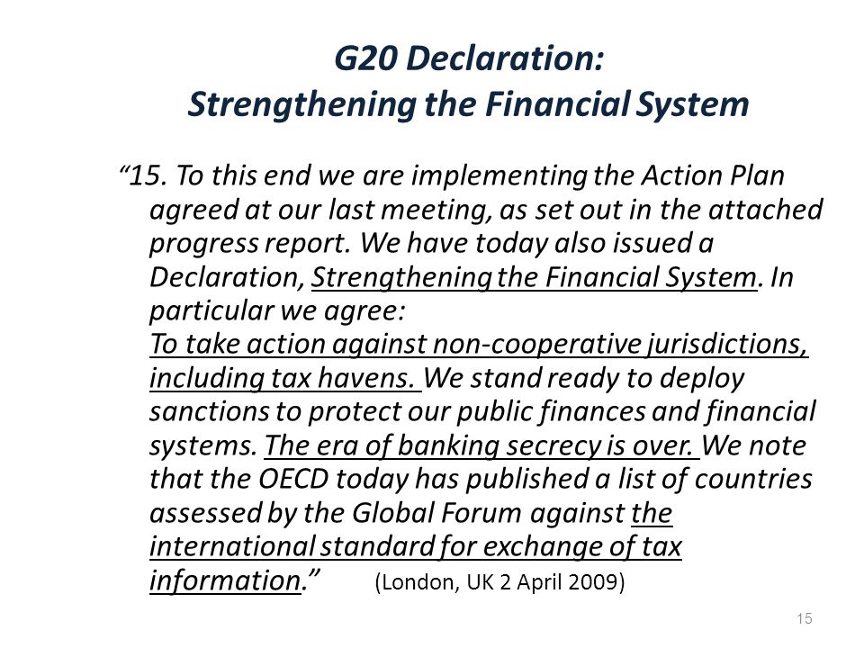 G20 Declaration: Strengthening the Financial System