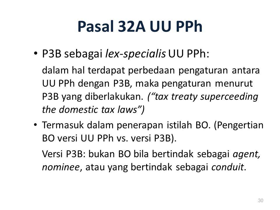Pasal 32A UU PPh P3B sebagai lex-specialis UU PPh: