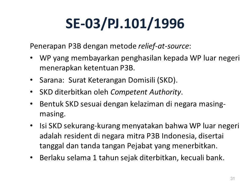 SE-03/PJ.101/1996 Penerapan P3B dengan metode relief-at-source: