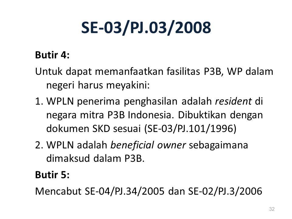 SE-03/PJ.03/2008 Butir 4: Untuk dapat memanfaatkan fasilitas P3B, WP dalam negeri harus meyakini: