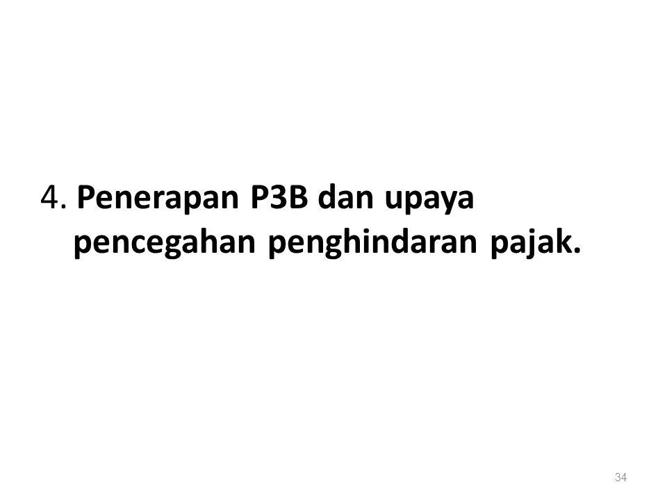 4. Penerapan P3B dan upaya pencegahan penghindaran pajak.
