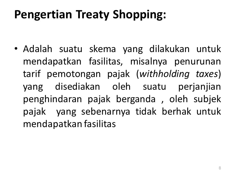 Pengertian Treaty Shopping: