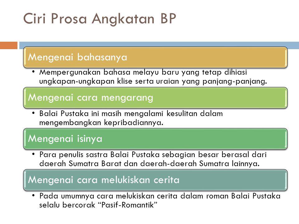 Ciri Prosa Angkatan BP Mengenai bahasanya