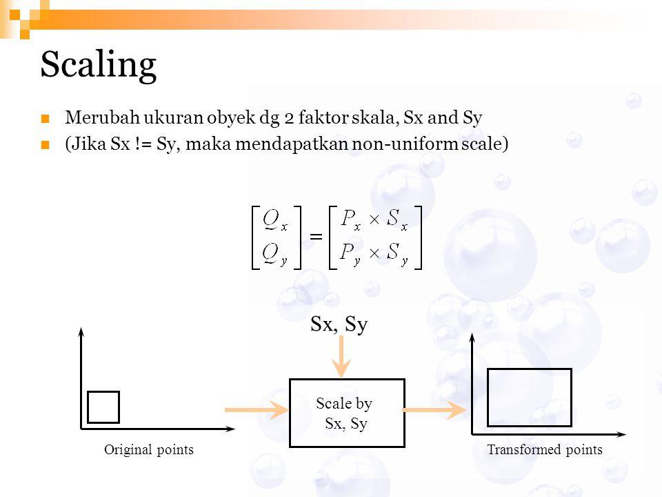 Scaling Sx, Sy Merubah ukuran obyek dg 2 faktor skala, Sx and Sy