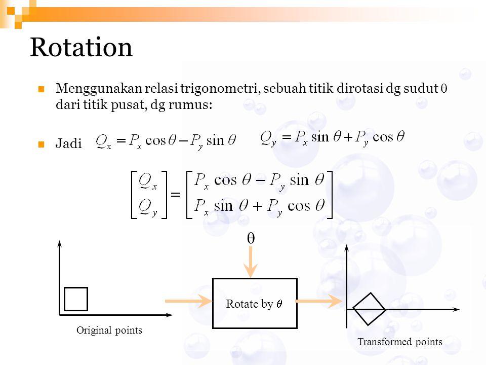 Rotation Menggunakan relasi trigonometri, sebuah titik dirotasi dg sudut q dari titik pusat, dg rumus: