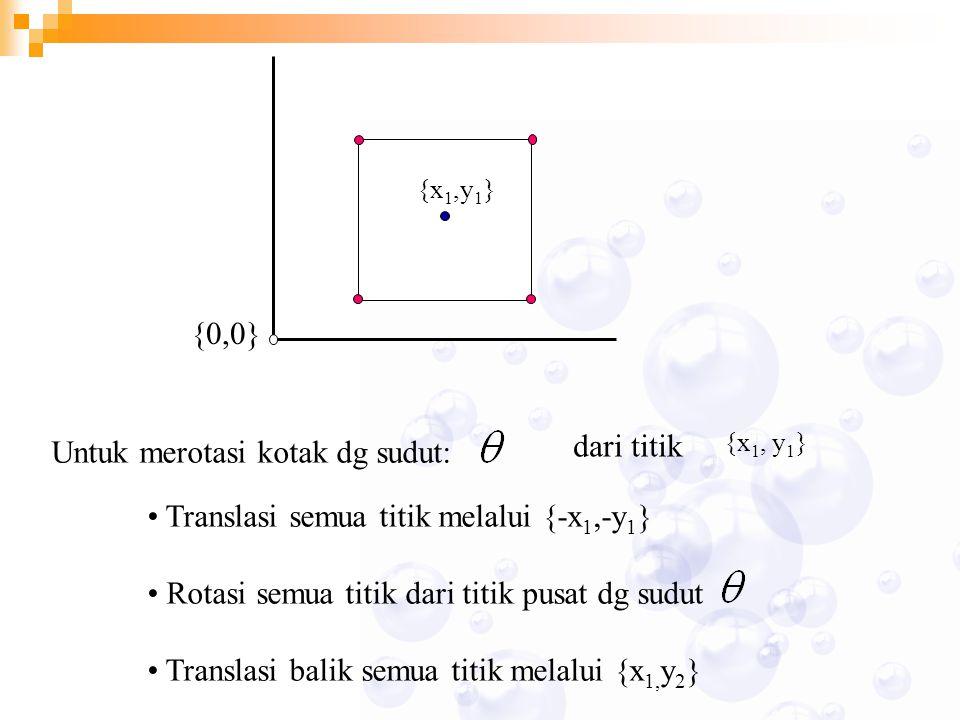 Untuk merotasi kotak dg sudut: dari titik