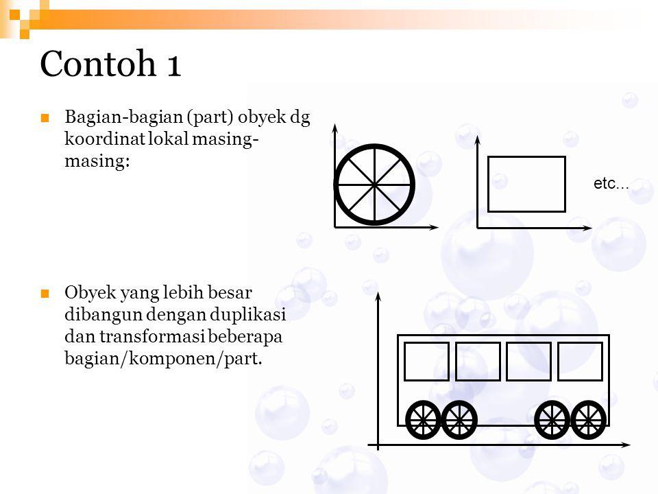 Contoh 1 Bagian-bagian (part) obyek dg koordinat lokal masing-masing: