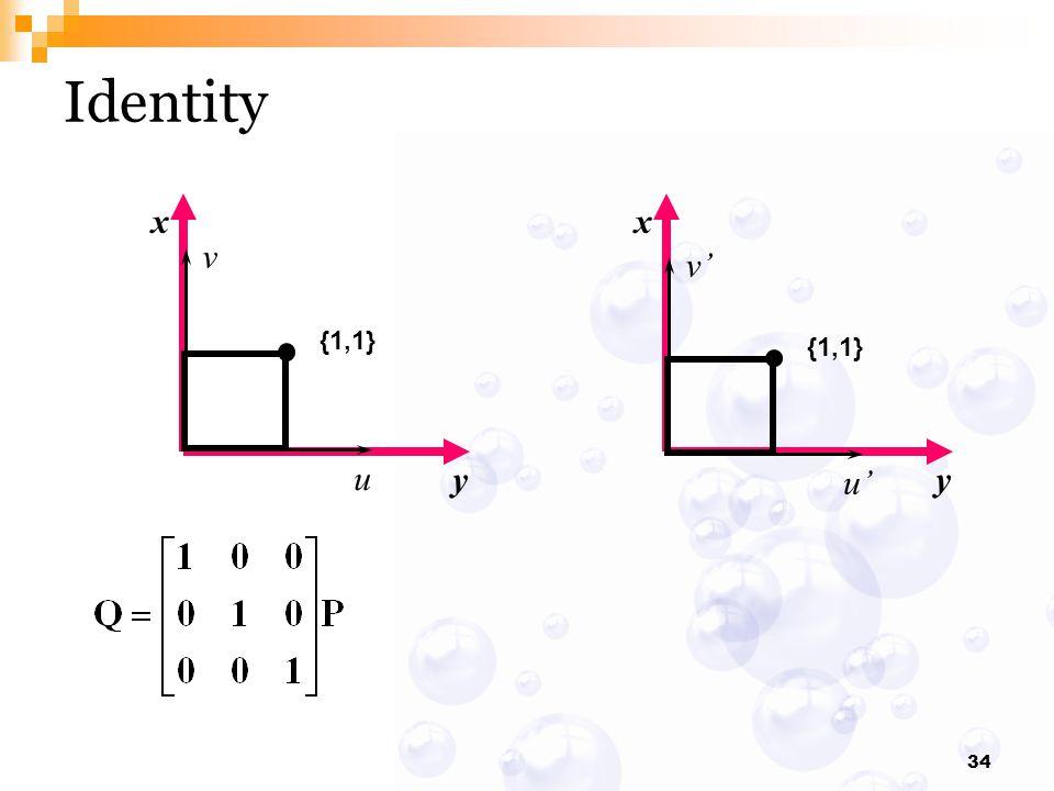 Identity x y x y {1,1} v u {1,1} v' u'