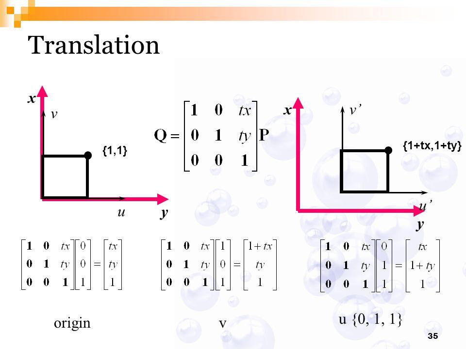 Translation x y x y {1+tx,1+ty} v' u' {1,1} v u u {0, 1, 1} origin v