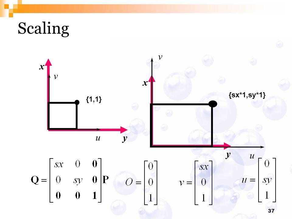 Scaling {sx*1,sy*1} v u x y {1,1} v u x y