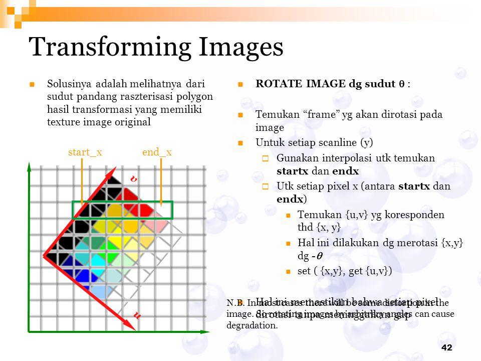 Transforming Images Solusinya adalah melihatnya dari sudut pandang raszterisasi polygon hasil transformasi yang memiliki texture image original.
