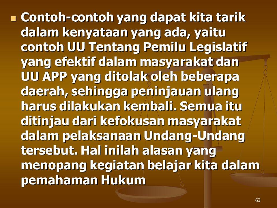 Contoh-contoh yang dapat kita tarik dalam kenyataan yang ada, yaitu contoh UU Tentang Pemilu Legislatif yang efektif dalam masyarakat dan UU APP yang ditolak oleh beberapa daerah, sehingga peninjauan ulang harus dilakukan kembali.