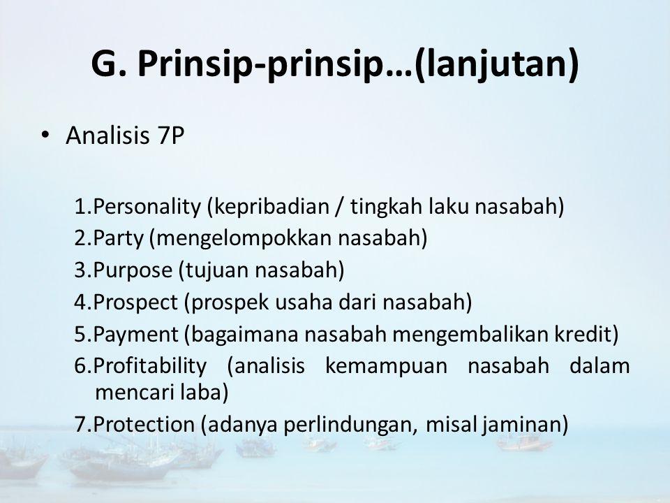 G. Prinsip-prinsip…(lanjutan)