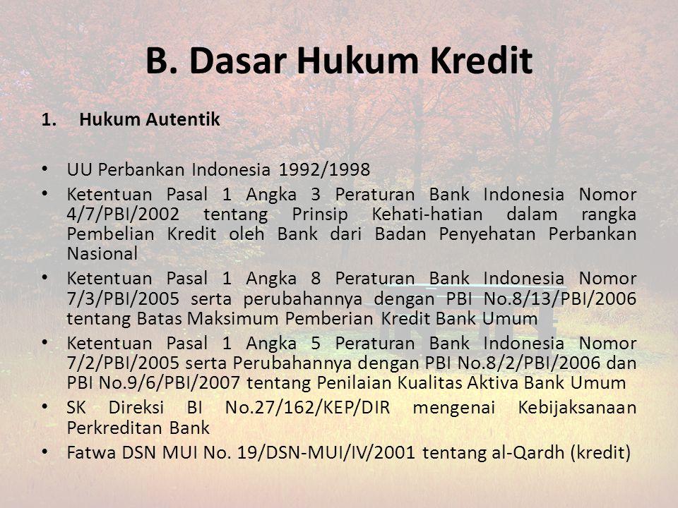 B. Dasar Hukum Kredit Hukum Autentik UU Perbankan Indonesia 1992/1998