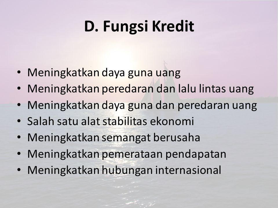 D. Fungsi Kredit Meningkatkan daya guna uang