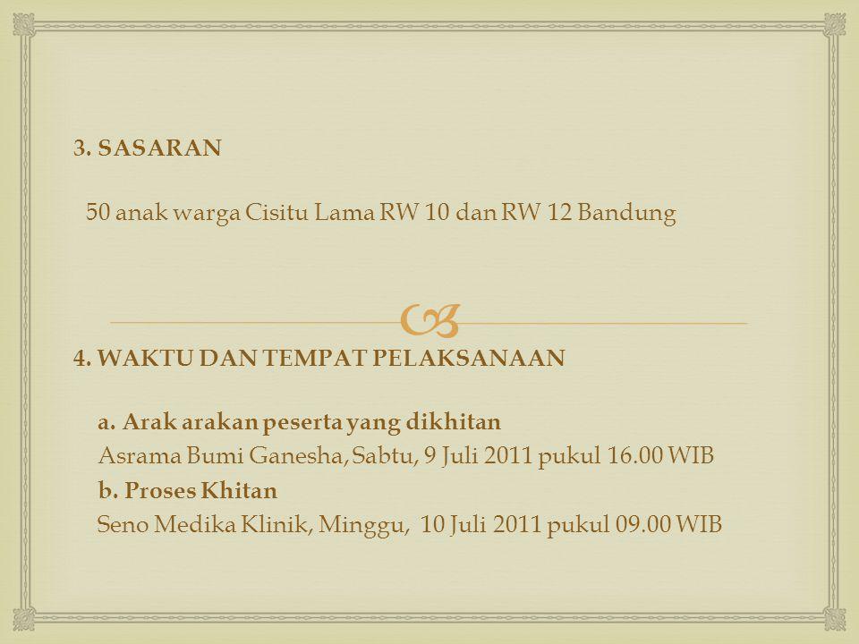 3. SASARAN 50 anak warga Cisitu Lama RW 10 dan RW 12 Bandung. 4. WAKTU DAN TEMPAT PELAKSANAAN. a. Arak arakan peserta yang dikhitan.