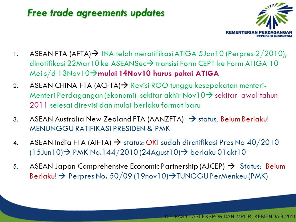 Free trade agreements updates