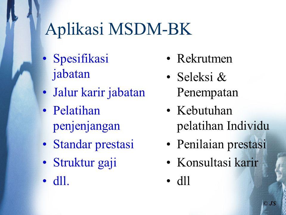 Aplikasi MSDM-BK Spesifikasi jabatan Jalur karir jabatan