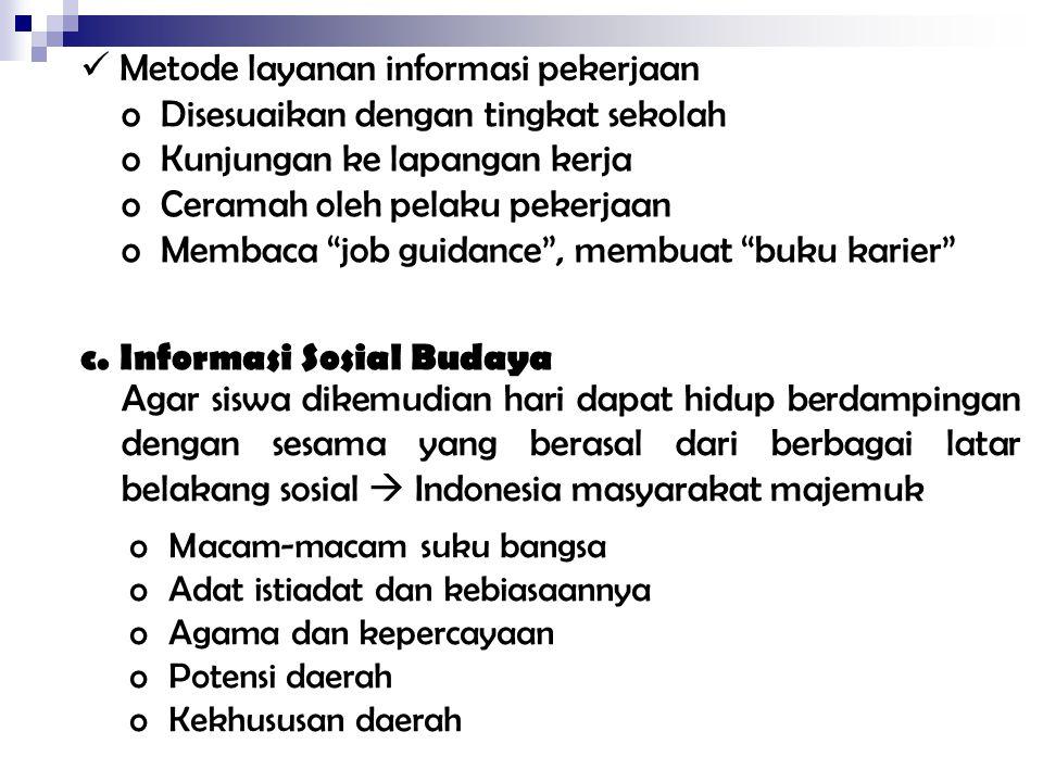 Metode layanan informasi pekerjaan Disesuaikan dengan tingkat sekolah