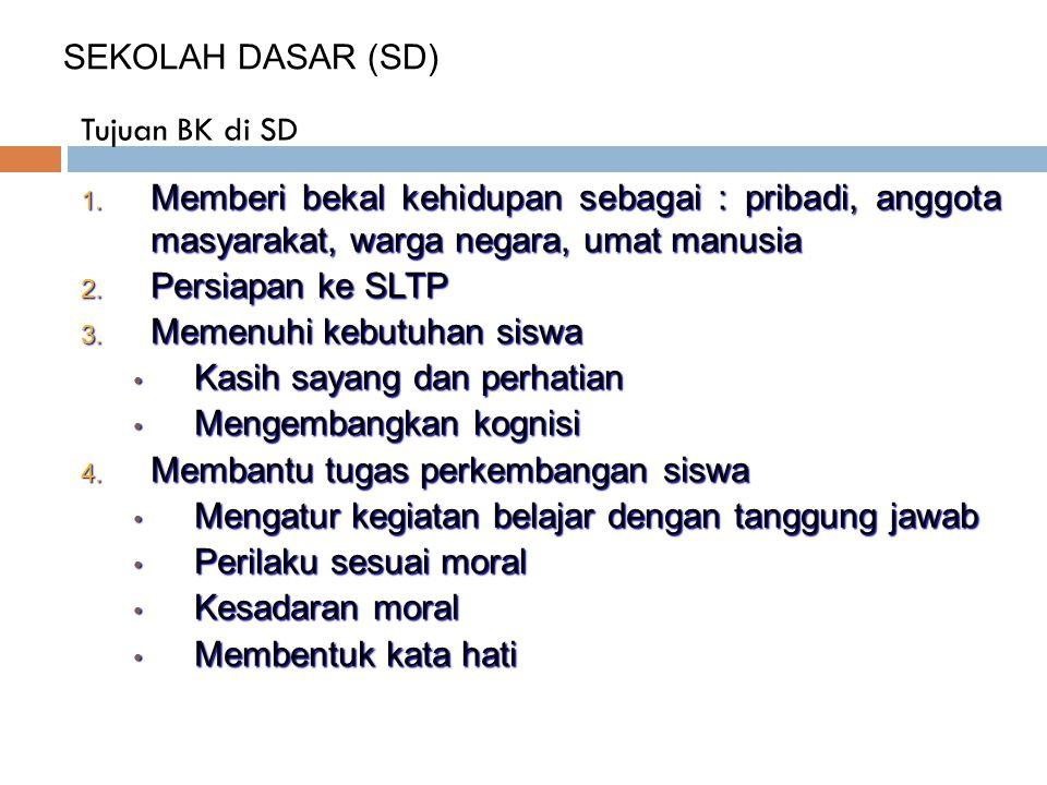 SEKOLAH DASAR (SD) Tujuan BK di SD. Memberi bekal kehidupan sebagai : pribadi, anggota masyarakat, warga negara, umat manusia.