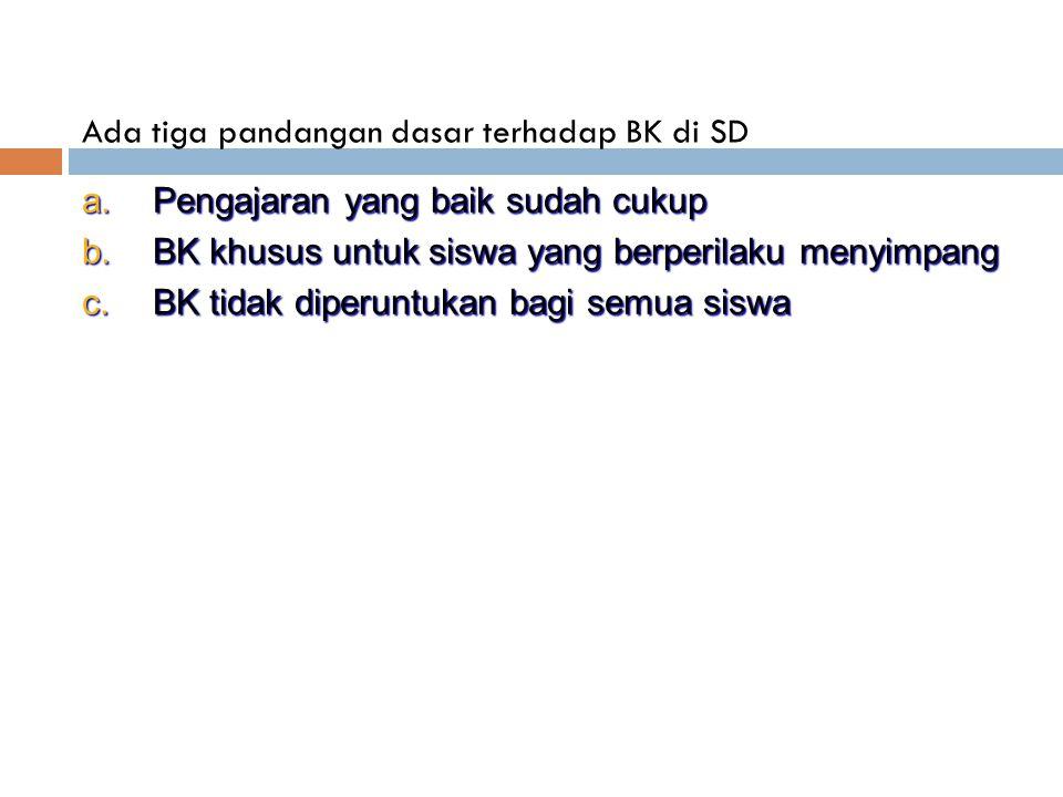 Ada tiga pandangan dasar terhadap BK di SD