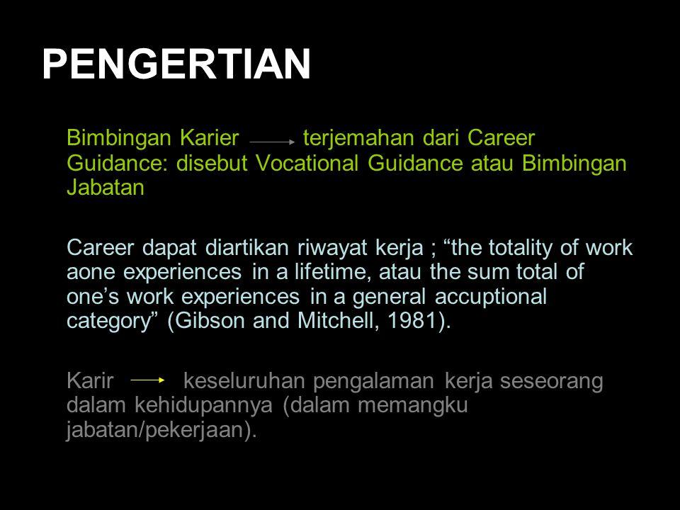 PENGERTIAN Bimbingan Karier terjemahan dari Career Guidance: disebut Vocational Guidance atau Bimbingan Jabatan.