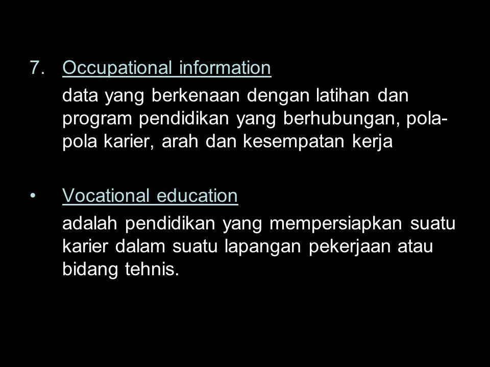 7. Occupational information