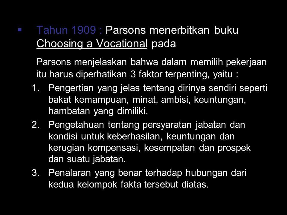 Tahun 1909 : Parsons menerbitkan buku Choosing a Vocational pada