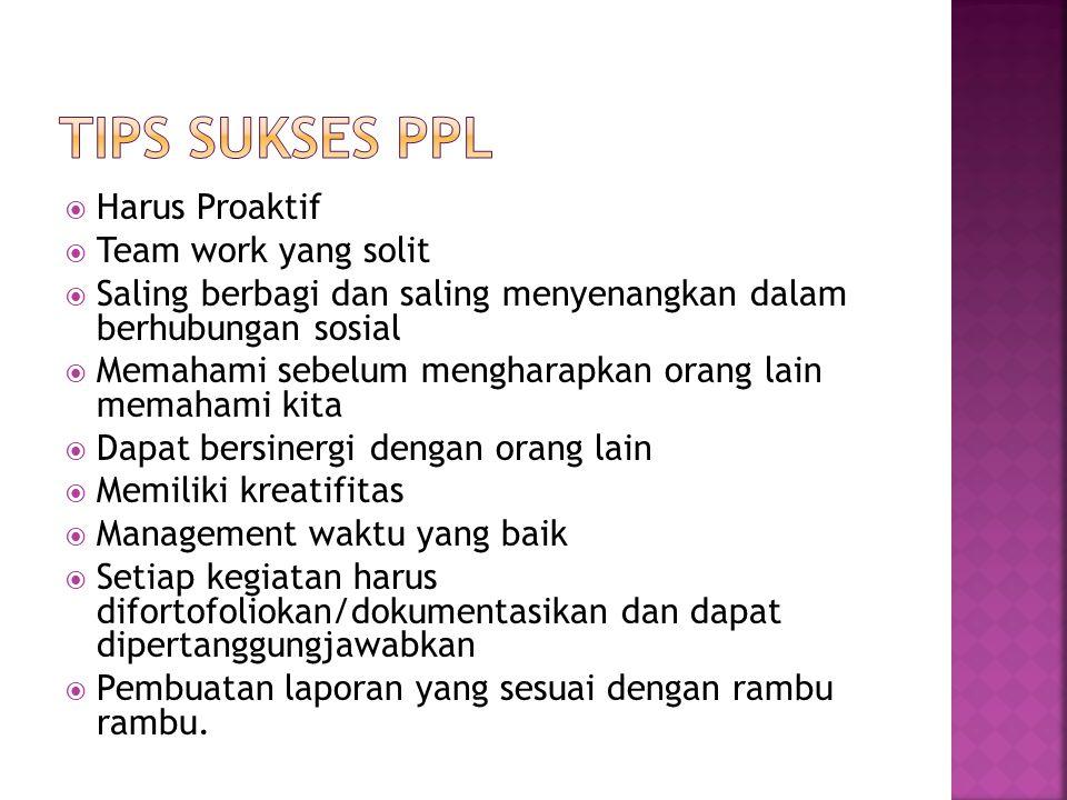 TIPS SUKSES PPL Harus Proaktif Team work yang solit