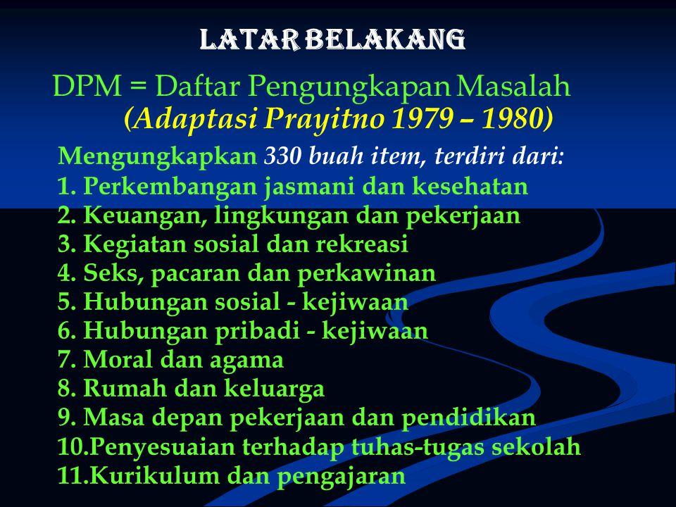 DPM = Daftar Pengungkapan Masalah (Adaptasi Prayitno 1979 – 1980)