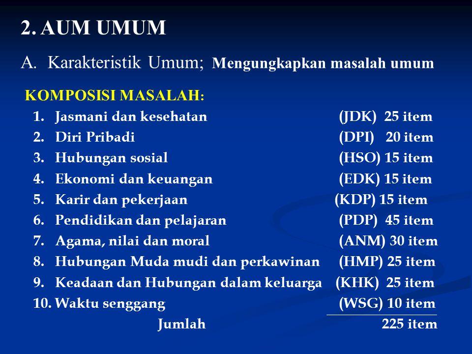 2. AUM UMUM A. Karakteristik Umum; Mengungkapkan masalah umum