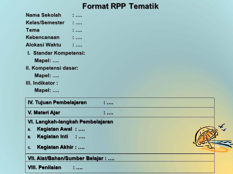 Format RPP Tematik I. Standar Kompetensi: Nama Sekolah : ….