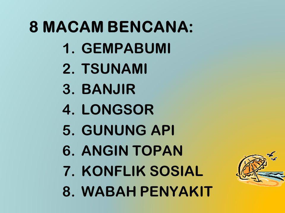 8 MACAM BENCANA: GEMPABUMI TSUNAMI BANJIR LONGSOR GUNUNG API