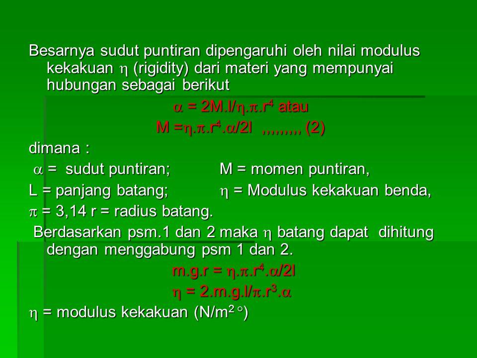 Besarnya sudut puntiran dipengaruhi oleh nilai modulus kekakuan  (rigidity) dari materi yang mempunyai hubungan sebagai berikut