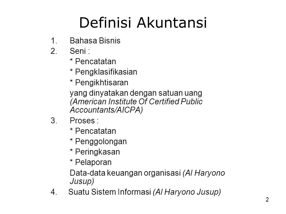 Definisi Akuntansi Bahasa Bisnis Seni : * Pencatatan