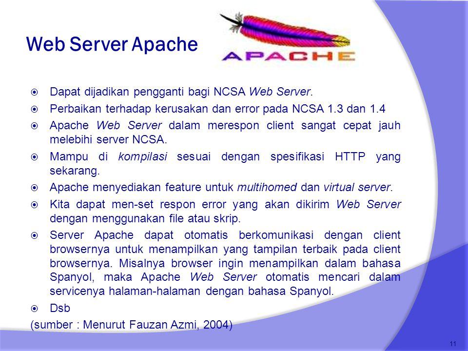 Web Server Apache Dapat dijadikan pengganti bagi NCSA Web Server.