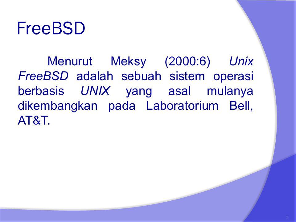 FreeBSD Menurut Meksy (2000:6) Unix FreeBSD adalah sebuah sistem operasi berbasis UNIX yang asal mulanya dikembangkan pada Laboratorium Bell, AT&T.