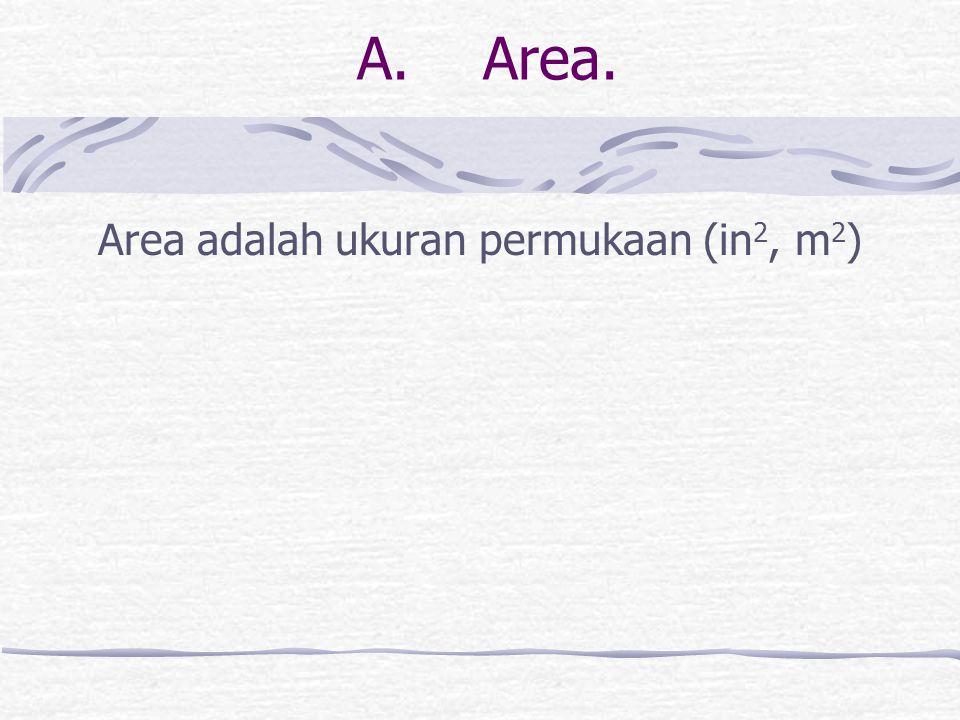 Area adalah ukuran permukaan (in2, m2)