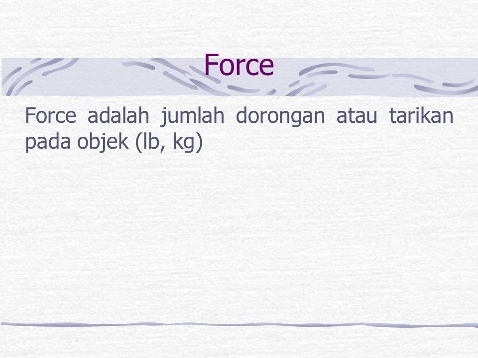 Force adalah jumlah dorongan atau tarikan pada objek (lb, kg)