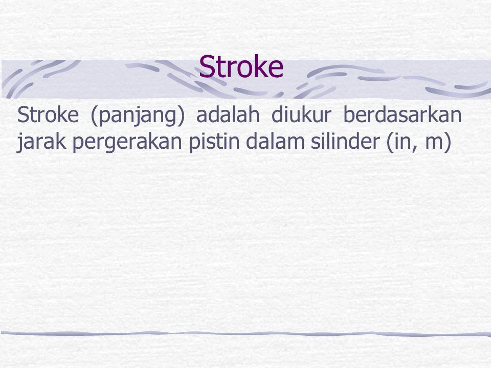 Stroke Stroke (panjang) adalah diukur berdasarkan jarak pergerakan pistin dalam silinder (in, m)