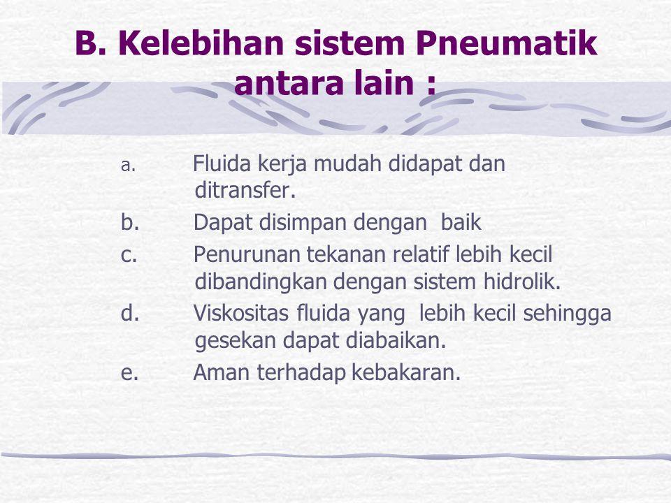 B. Kelebihan sistem Pneumatik antara lain :