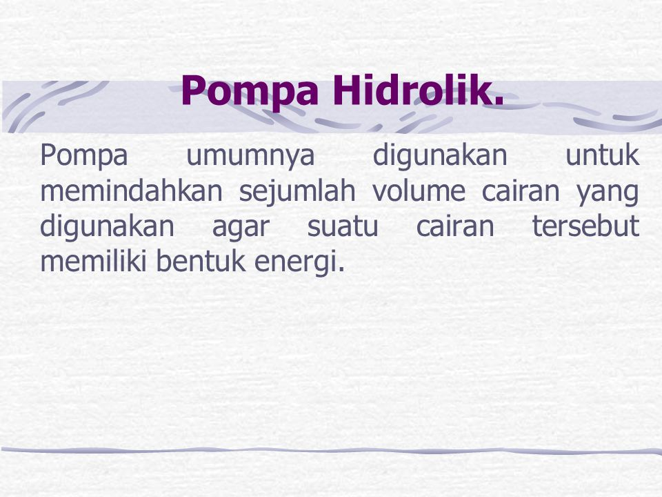 Pompa Hidrolik.