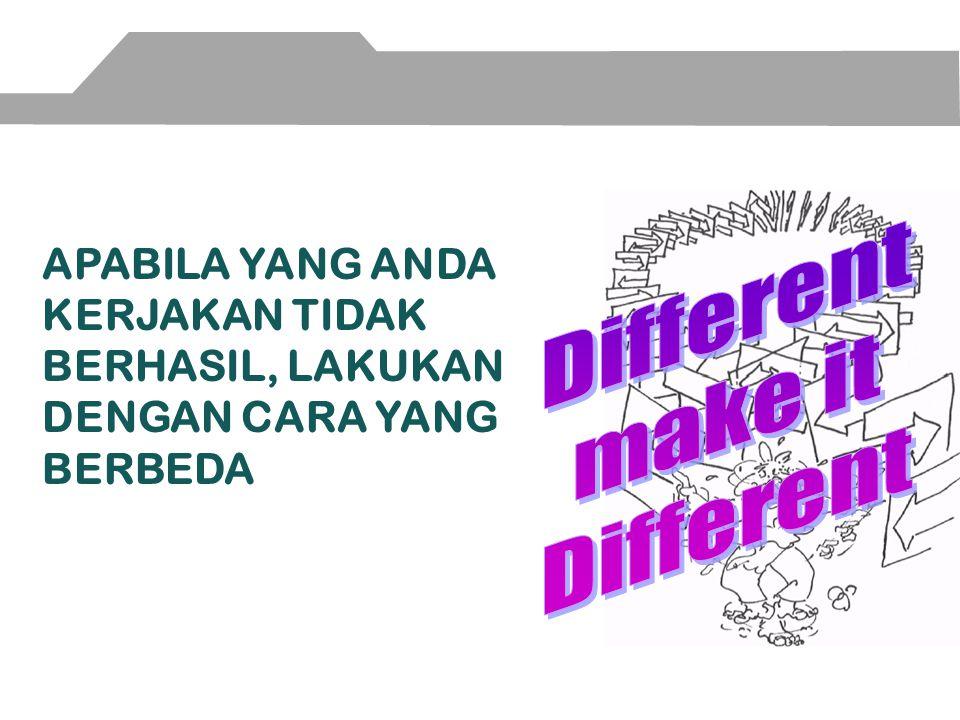 Different make it. APABILA YANG ANDA KERJAKAN TIDAK BERHASIL, LAKUKAN DENGAN CARA YANG BERBEDA.