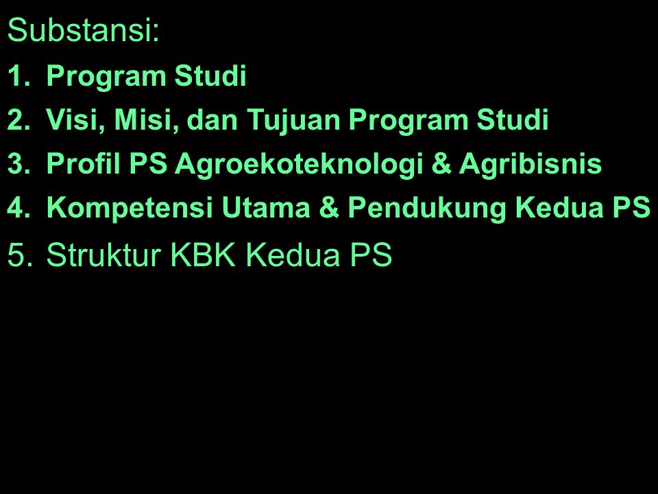 Substansi: Struktur KBK Kedua PS Program Studi