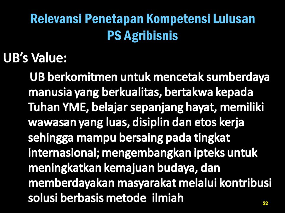 Relevansi Penetapan Kompetensi Lulusan PS Agribisnis