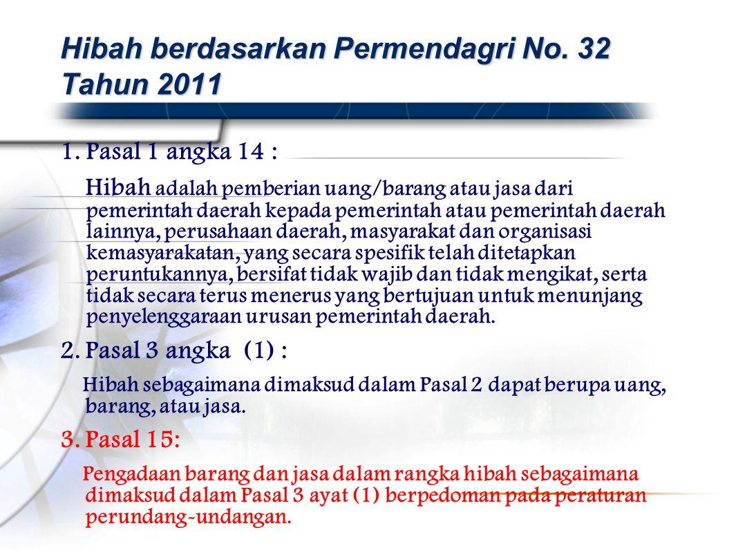 Hibah berdasarkan Permendagri No. 32 Tahun 2011