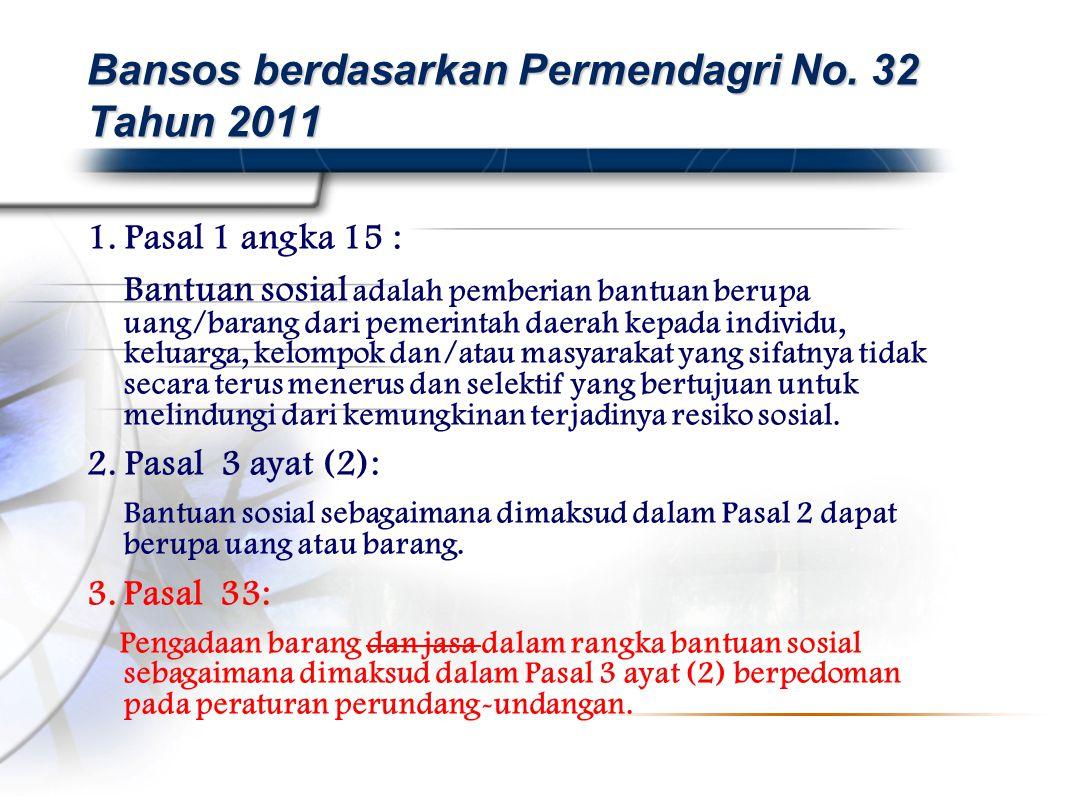 Bansos berdasarkan Permendagri No. 32 Tahun 2011